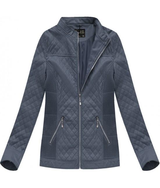 Dámska koženková bunda modrá 5037BIG