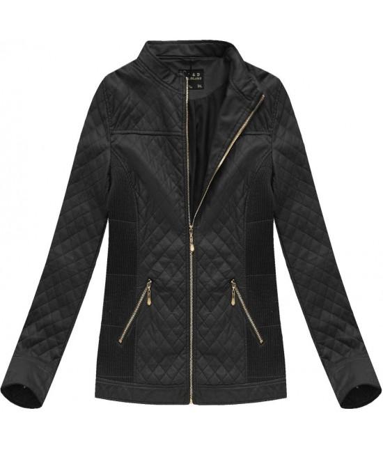 Dámska koženková bunda čierna 5037BIG