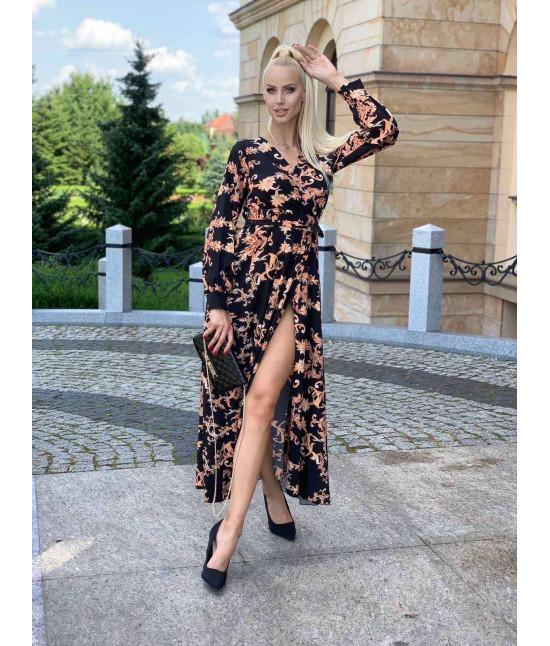 Dámske dlhé maxi šaty MODA682/5 čierne