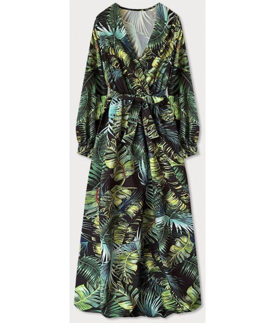 Dámske dlhé maxi šaty MODA683/2 zelené lístie