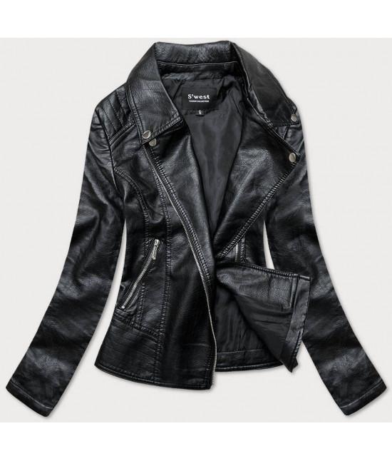 Dámska koženková bunda MODA17 čierna