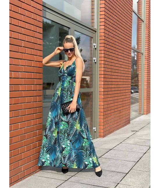Dámske maxi šaty na ramienka MODA1073 zeleno-modré