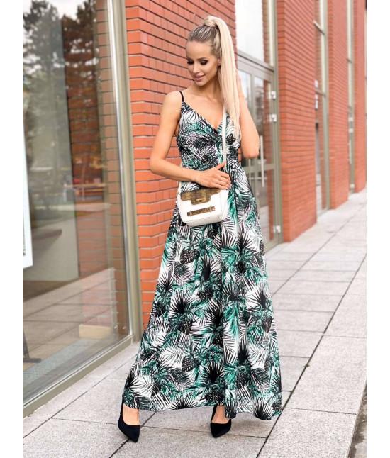 Dámske maxi šaty na ramienka MODA1073 bielo-zelené