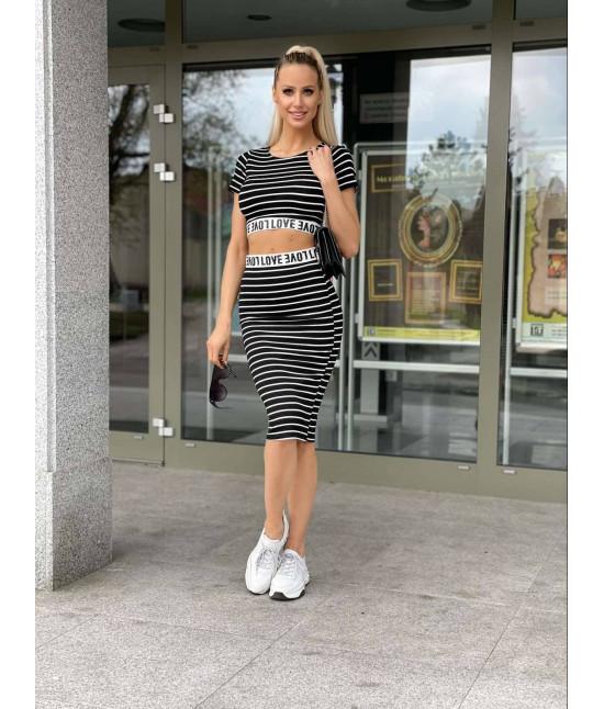 Dámsky športový komplet crop-top + sukňa MODA1511 čierny