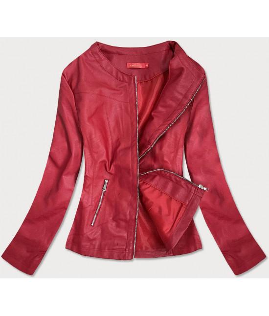 Dámska koženková bunda MODA8130BIG červená 4XL