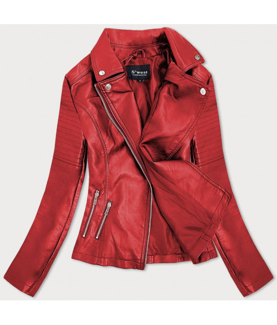 Dámska kožená bunda MODA112 červená veľkosť XXL
