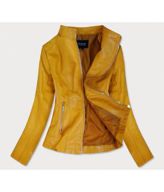 Dámska koženková bunda MODA12 žltá veľkosť XXL