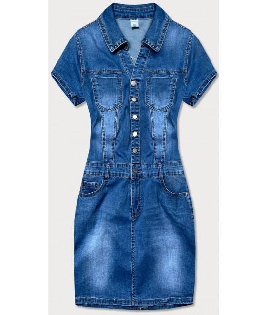 Dámske jeansové šaty plus size  MODA6627 modré