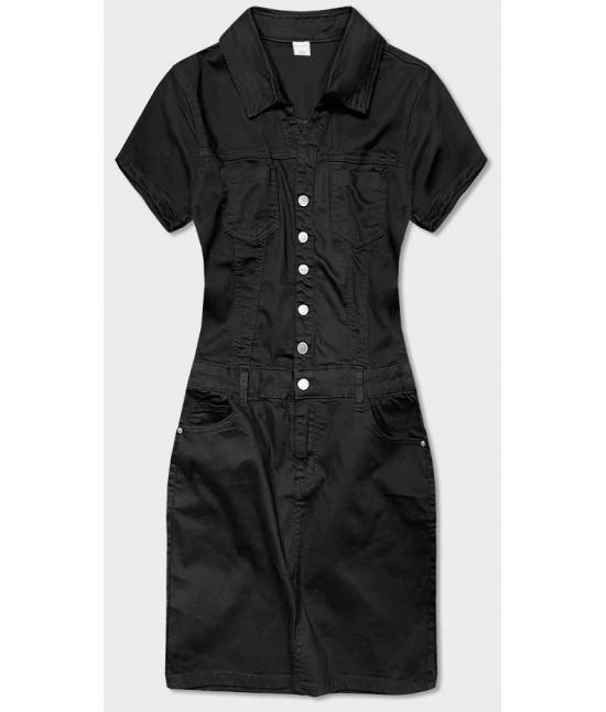 Dámske šaty s golierom MODA663 čierne