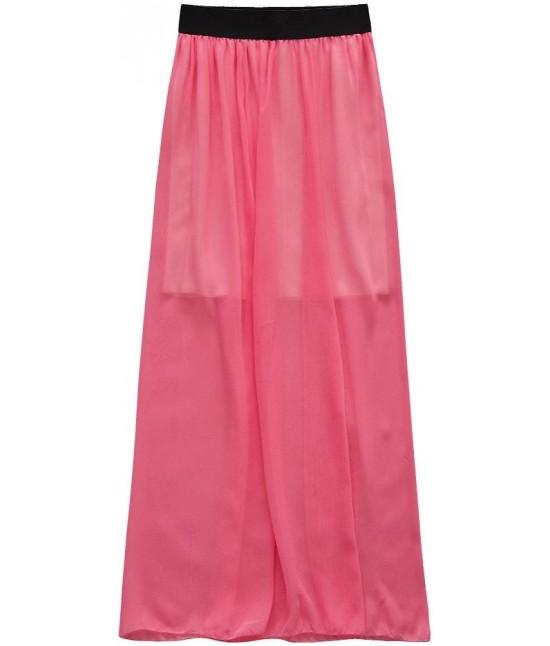 Dámska dlhá maxi sukňa koralová moda95