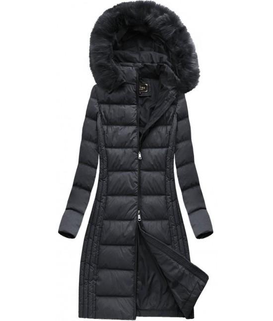 1cef22657 Dámska dlhá zimná bunda MODA753 čierna - Dámske oblečenie | jejmoda.sk