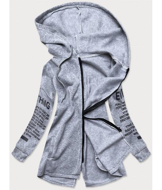 Dámsky bavlnený kardigán na zips MODA718 šedý