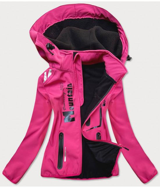 Dámska krátka softshellová bunda  MODA030  ružovo-čierna
