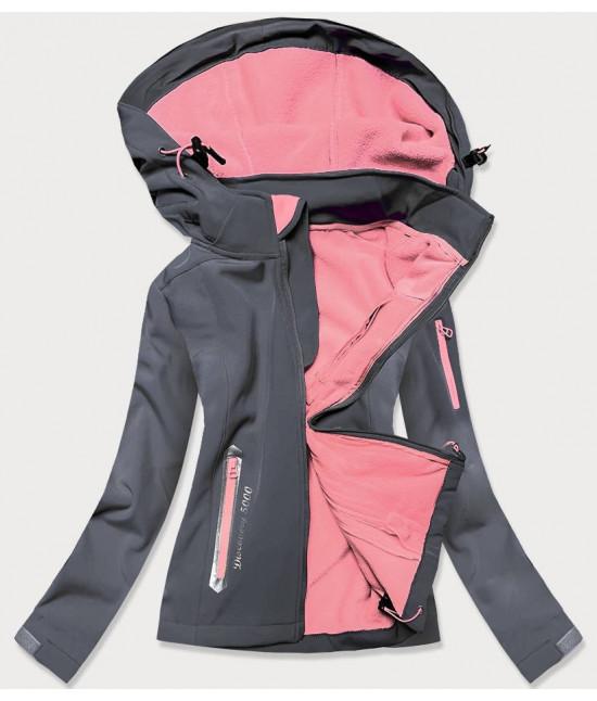 Dámska trekkingová bunda MODA029 tmavošedo-ružová