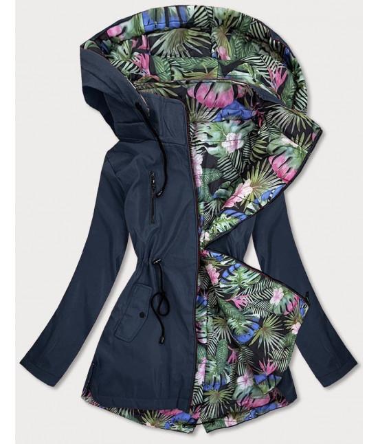 Obojstranná dámska jarná bunda MODA65 tmavomodrá veľkosť  7XL