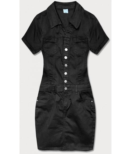 Dámske šaty s golierom MODA6661 čierne veľkosť L