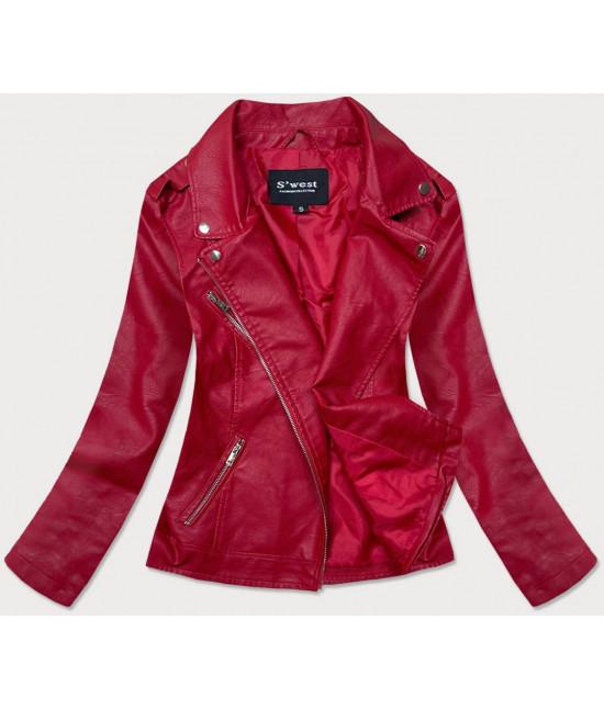 Dámska koženková bunda MODA0118 červená