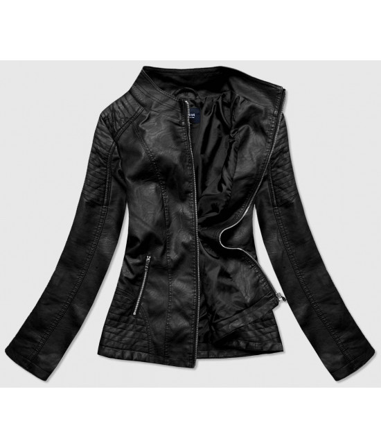 Dámska koženková bunda MODA0119BIG čierna