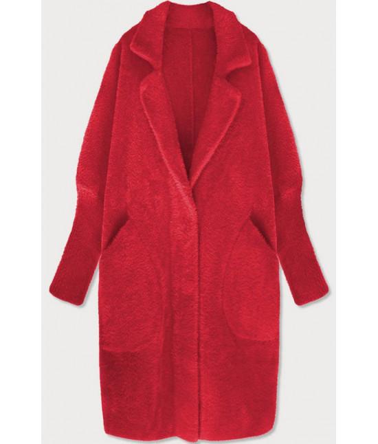 Dlhý dámsky vlnený kabát alpaka MODA102 červený