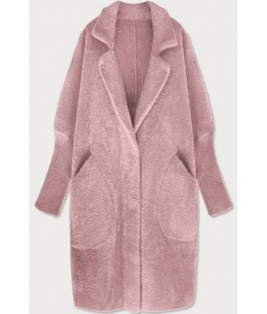 Dlhý dámsky vlnený kabát alpaka MODA102 ružový