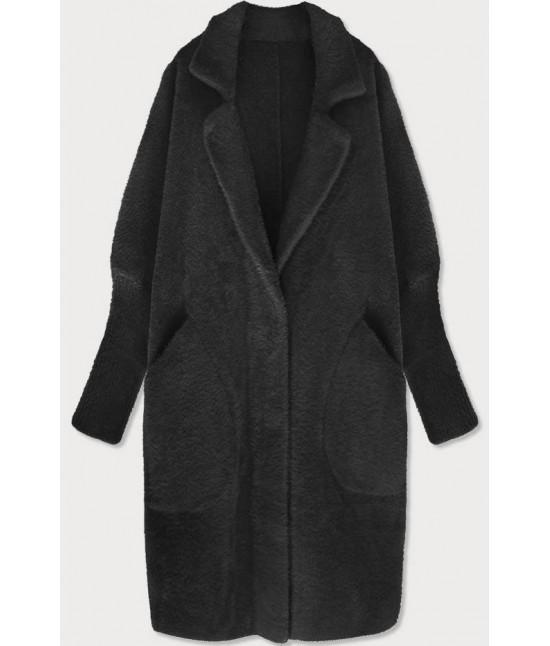 Dlhý dámsky vlnený kabát alpaka MODA102 čierny