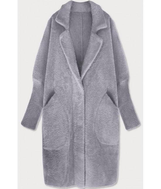 Dlhý dámsky vlnený kabát alpaka MODA102 šedý