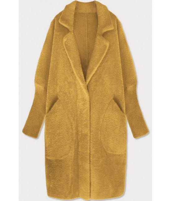 Dlhý dámsky vlnený kabát alpaka MODA102 horčicový