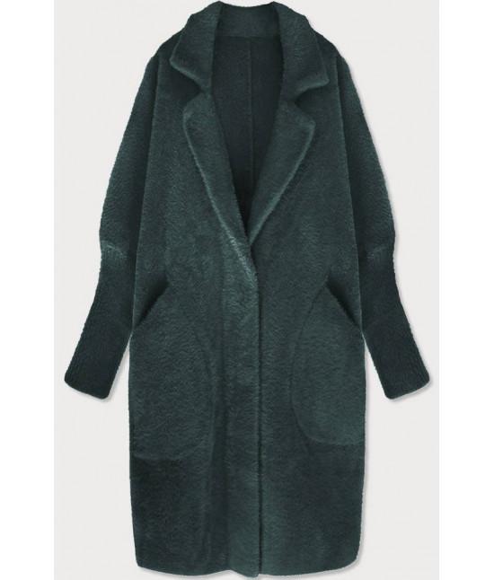 Dlhý dámsky vlnený kabát alpaka MODA102 tmavozelený