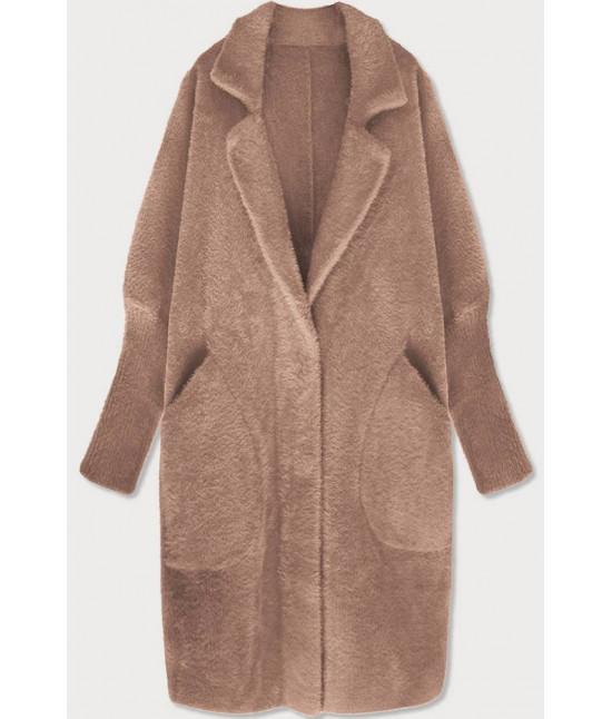 Dlhý dámsky vlnený kabát alpaka MODA102 tmavobéžový