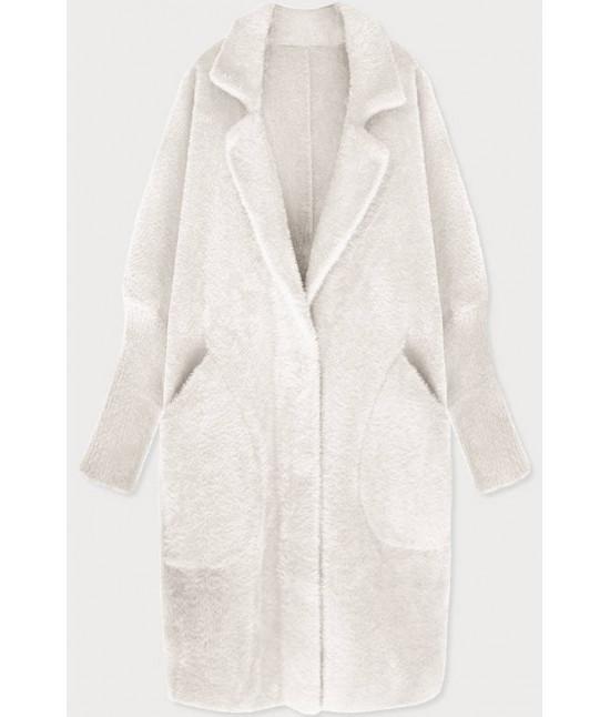 Dlhý dámsky vlnený kabát alpaka MODA102 ecru