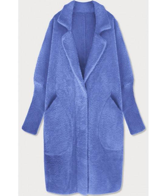 Dlhý dámsky vlnený kabát alpaka MODA102 modrý
