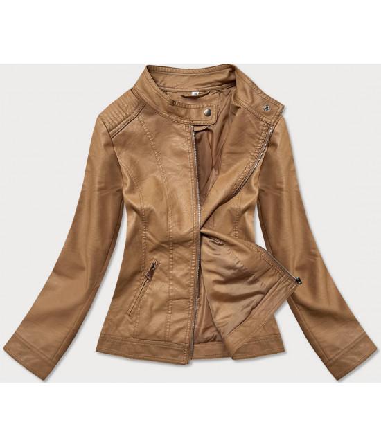 Dámska koženková bunda MODA90-20 svetlohnedá