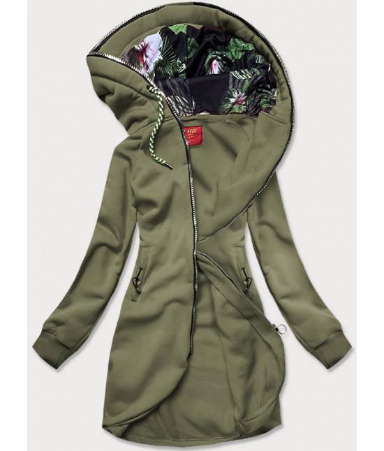 Dámska dlhá mikina s kapucňou MODA855 khaki