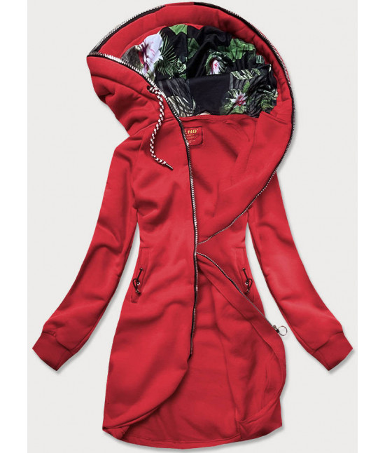 Dámska dlhá mikina s kapucňou MODA855 červená