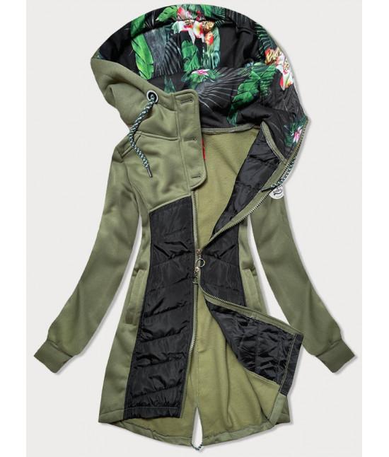 Dámska dlhá mikina s kapucňou MODA819 khaki