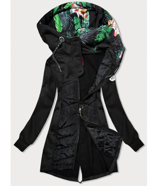 Dámska dlhá mikina s kapucňou MODA819 čierna