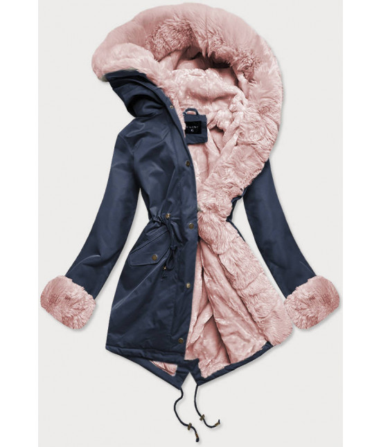 Dámska zimná bunda parka s kožušinou  MODA529 modro-ružová