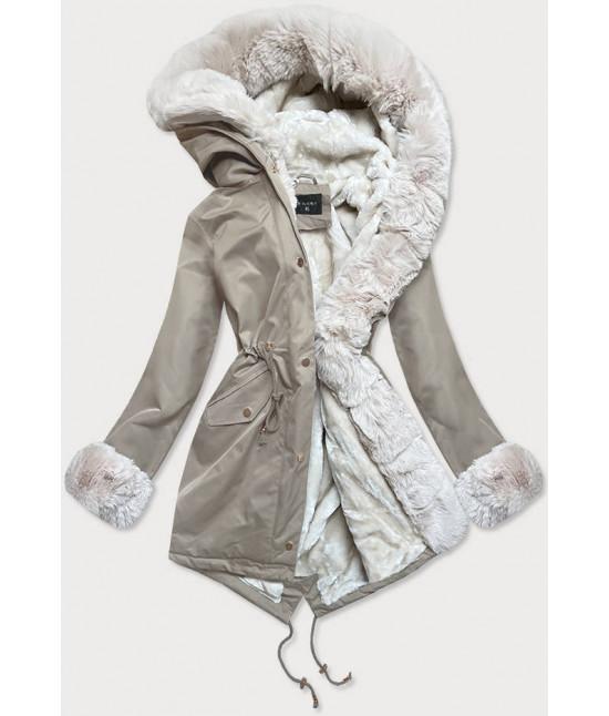 Dámska zimná bunda parka s kožušinou  MODA529 béžovo-ecru