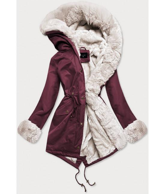 Dámska zimná bunda parka s kožušinou  MODA529 bordo-ecru