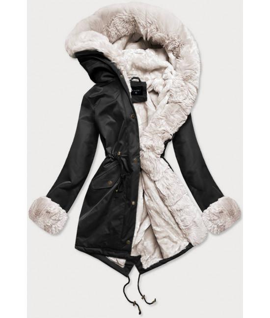 Dámska zimná bunda parka s kožušinou  MODA529 čierno-ecru