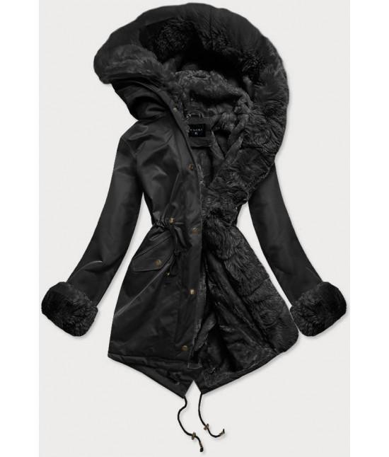 Dámska zimná bunda parka s kožušinou  MODA529 čierna