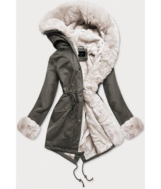 Dámska zimná bunda parka s kožušinou  MODA529 khaki-ecru