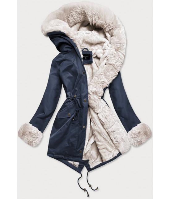 Dámska zimná bunda parka s kožušinou  MODA529 modro-ecru