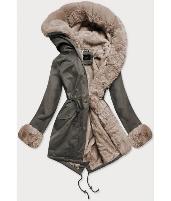 Dámska zimná bunda parka s kožušinou  MODA529 khaki-béžová