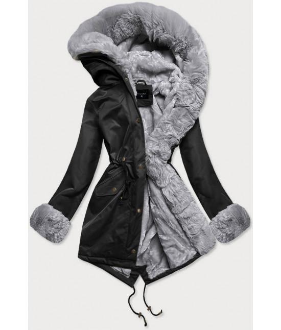 Dámska zimná bunda parka s kožušinou  MODA529 čierno-šedá
