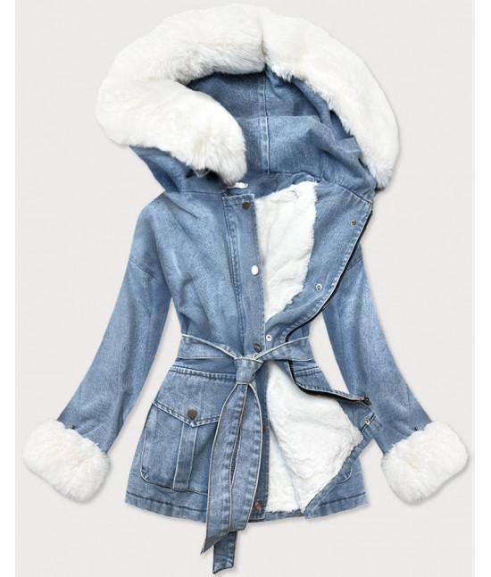Dámska jesenná jeansová bunda s kožušinou MODA026 modro-biela