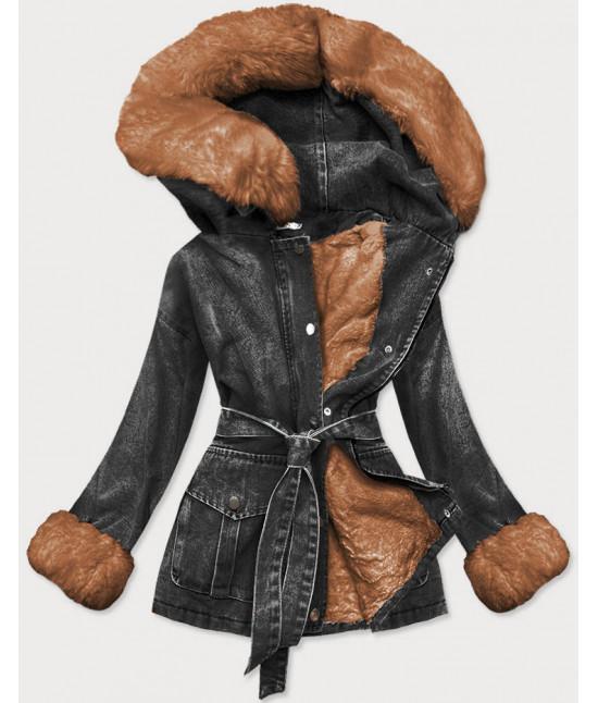 Dámska jesenná jeansová bunda s kožušinou MODA026 čierno-karamelová