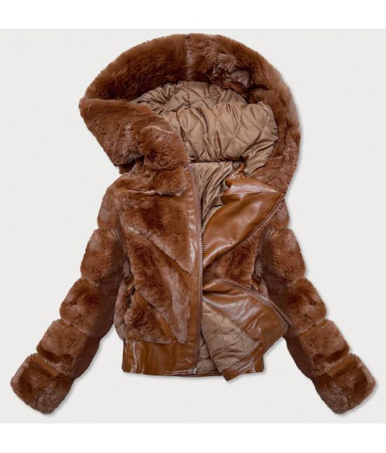 Dámska koženková bunda s kožušinou MODA735 hnedá