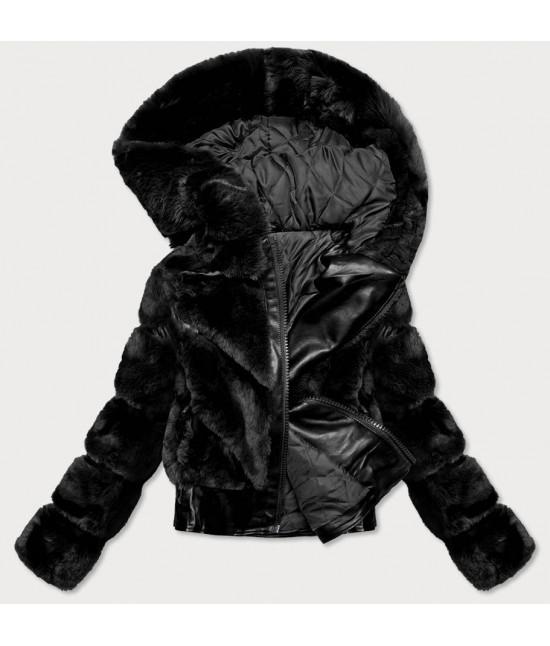 Dámska koženková bunda s kožušinou MODA735 čierna