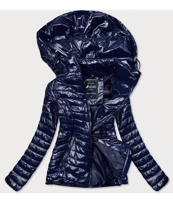 Dámska jarná lesklá bunda MODA6380 tmavomodrá L